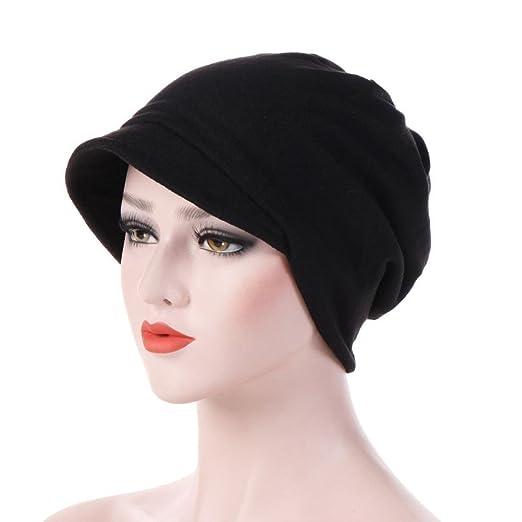 Women s Turban Chemo Hats Hexagon Head Cap Solid Color Warm Windproof Cap  Black 01421d1e9b7f