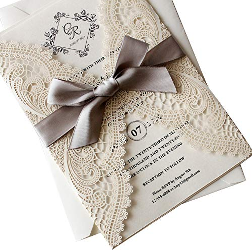 25Pcs Lace Wedding Invitations by Picky Bride Blank Invitation Cards, Silver Ribbon Laser Cut Invitations with Envelopes 125x185mm