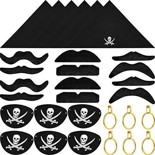 Tatuo 30 Pieces Pirate Captain Eye Patches, Pirate Bandana, Pirate Gold Earrings, Pirate Fake Mustache for Halloween and Pirate Party Costume Prop