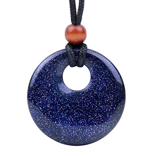 BestAmulets Amulet Large Medallion Circle Coin Go-Go Donut Protection Magical Powers Blue Goldstone Charm Necklace