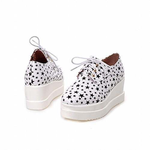 Carolbar Womens Lace up Star Shaped Print Popular Fashion Wedge Heel Oxfords Shoes White t42twvTm9