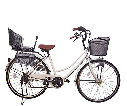 アウトレット☆送料無料 Lupinusルピナス 自転車 26インチ LP-266UA-KNR-B 軽快車 ホワイト シマノ外装6段ギア 後子乗せブラック オートライト B073LR28JH 数量は多