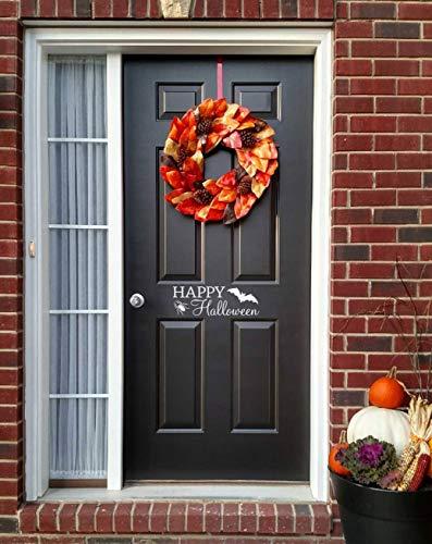 Happy Halloween Front Door Sticker - Spider and Bat Wall Art