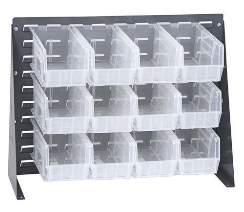 Offex Bench Rack Storage Unit with 12 Clear Storage Bins - 2