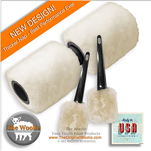 The Woolie Dual 2-Color Split Roller & Little Woolie COMBO Faux Finish Sheepskin Painting Set (Roller Sheepskin)