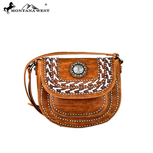MW340-8360 Montana West Concho Collection Crossbody Saddle Bag-Brown