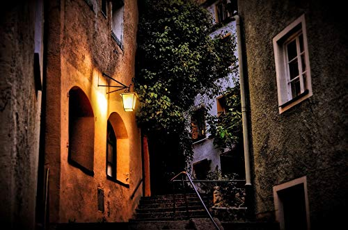 Home Comforts Peel-n-Stick Poster of Alley Illuminated Lantern Nighttime Old Town Stairs Vivid Imagery Poster 24 x 16 Adhesive Sticker Poster Print