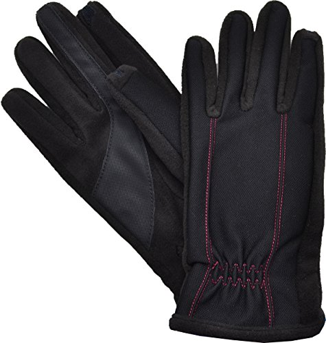 Isotoner Mens Gloves, Smartouch Tech Stret Red Stitch Large