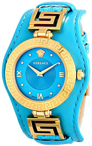Versace Womens Vla080014 V Signature Analog Display Swiss Quartz Turqoise Watch