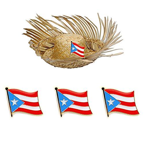 3 Pc Puerto Rico Flag Lapel Pin Patriotic Puerto Rican Pinback Hat Tie Cap Badge ()