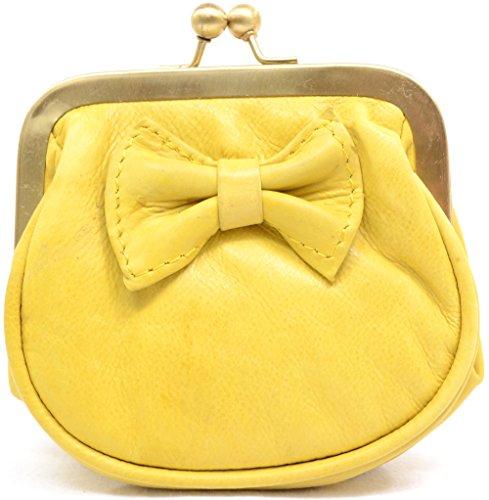 Damengeldbörse aus weichem Leder mit Bügelverschluß Gelb ZYi54G3u