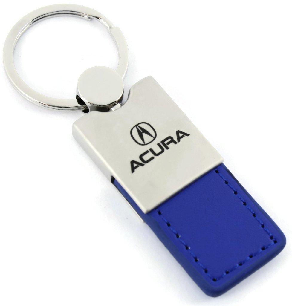 Acura MDX RDX TLX ILX RLX Blue Leather Car Fob Key Chain Ring Au-Tomotive Gold INC