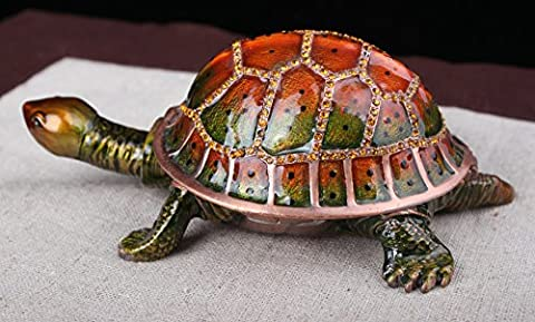 Crystal Pewter Hinged Turtle Trinket Box with Movable Head Lovely Gift Ideas Turtle Collectibles (1410.85.5 CM - Turtle Hinged Trinket Box