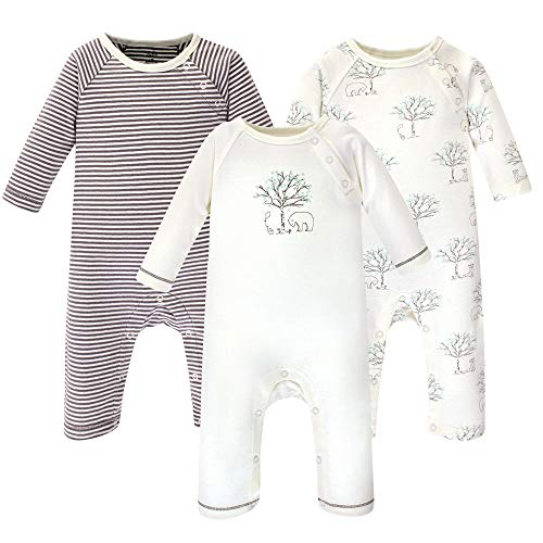 Touched by Nature Unisex Baby Organic Cotton Coveralls and Union Suits, Birch Tree 3-Pack, 3-6 Months -
