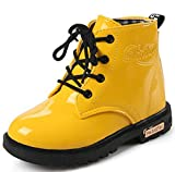 DADAWEN Boy's Girl's Waterproof Side Zipper Lace-Up Ankle Boots (Toddler/Little Kid/Big Kid) Yellow US Size 7.5 M Toddler