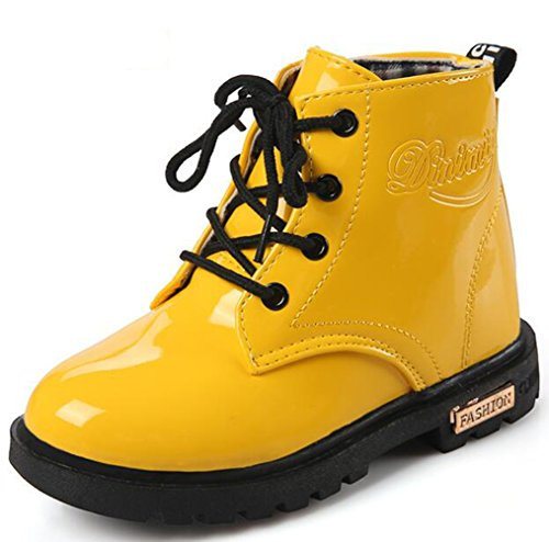 DADAWEN Boy's Girl's Waterproof Side Zipper Lace-Up Ankle Boots (Toddler/Little Kid/Big Kid) Yellow US Size 6.5 M Toddler