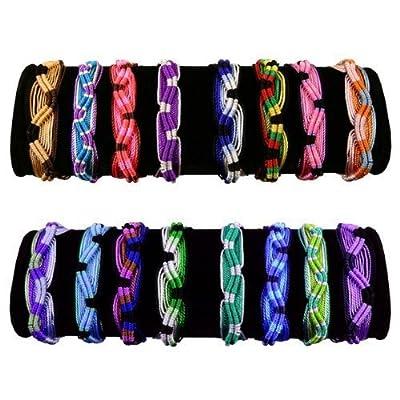 25 Friendship Bracelets Fair Trade Peru Wide Acrylic Assortment Lot