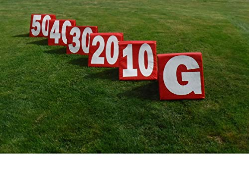 TS Sports Football Yard Markers Weighted - Bright Red with White Numbers. Can Easily be seen from a Distance. Folds up for Easy Storage.