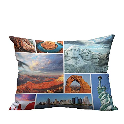 YouXianHome Print Bed Pillowcases Colorado Valley erts American L Scape P riotic Dividers Turquoise Washable and Hypoallergenic(Double-Sided Printing) 16x16 inch