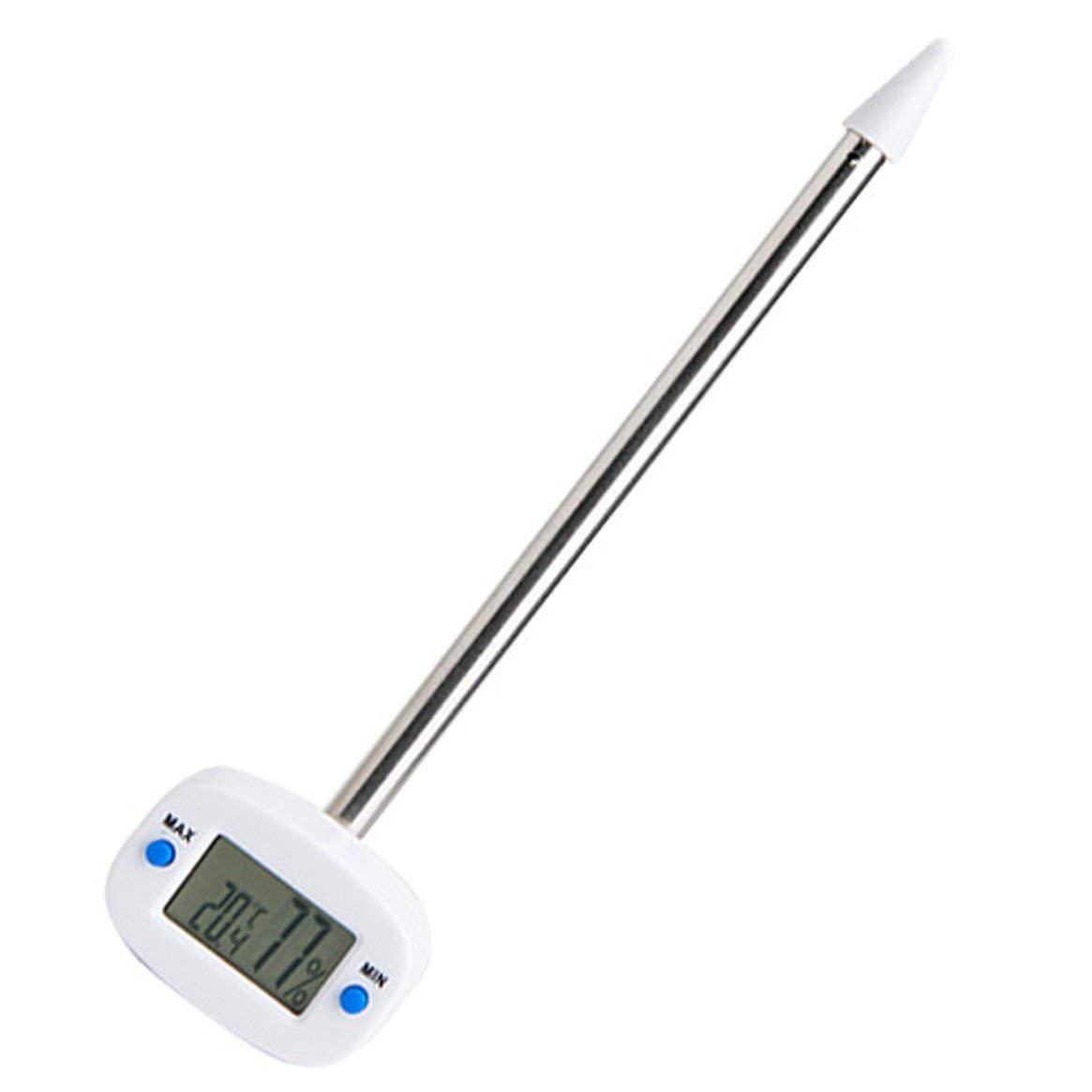 Delicacydex Probador de Suelo TA290 con funció n de Memoria Medidor de Humedad y Temperatura de Pantalla LCD Digital con sonda de Acero Inoxidable - Blanco