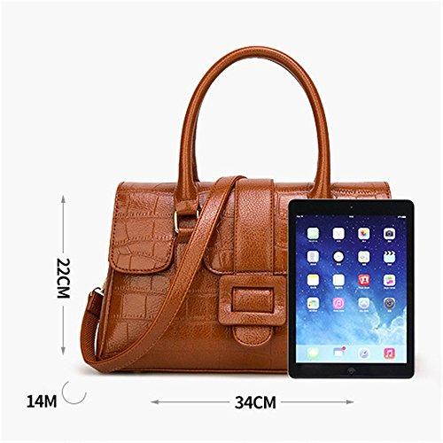 Brown tamaño bandolera Sra vuelta bolso Litchi messenger patrón tendencia cien Penao 34cmx14cmx22cm PaHwz