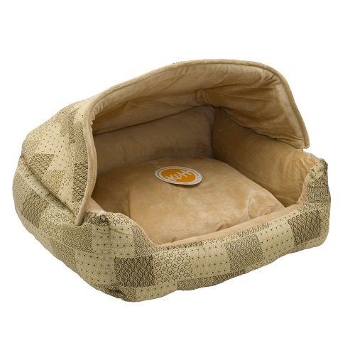 (K&H Pet Products Hooded Lounge Sleeper Pet Bed Tan Patchwork Print 20