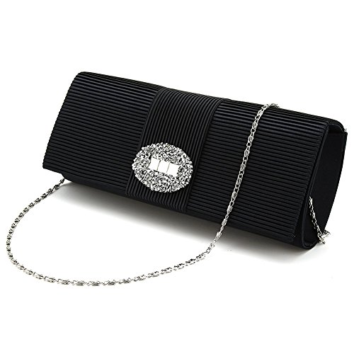 Ladies' Designer Pleated Satin Evening Bags for Women Formal Clutch Purse Stone Evening Handbag (black) (Evening Pleated Bag)