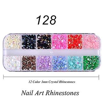 Amazon.com  12 Color Box 3Mm Crystal Colorful Jelly Rhinestones 3D Nail Art  Decor Glitter Gems Stones Manicure 128  Beauty 1856e7401946