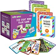 SpringFlower Sight Words Flash Cards with Pictures,Motions&Sentences, 220 Dolch Sight Words for Preschool,