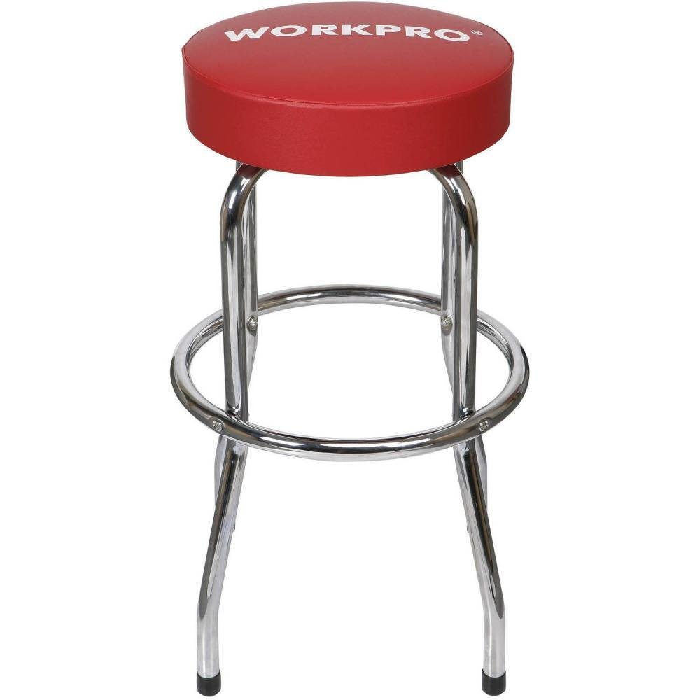 Work Pro Garage Shop Stool Workshop Backless Seat Slip-Resistant Feet Steel Legs