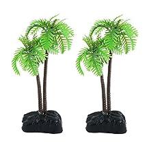 2 PCS Plastic Coco Tree Plants for Fish Tank Aquarium Deocr