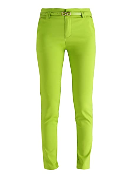 f553b0606f07 FREESIA Pantaloni a sigaretta con cintura - verde acido: Amazon.it ...