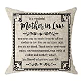 NIDITW Nice Mother-in-Law Stepmother Birthday Gift to A Wonderful Mother-in-Law Body Cream Burlap Throw Pillow Cover Pillowcase Pillow Sham Sofa Couch Decorative Square 18x18 inches