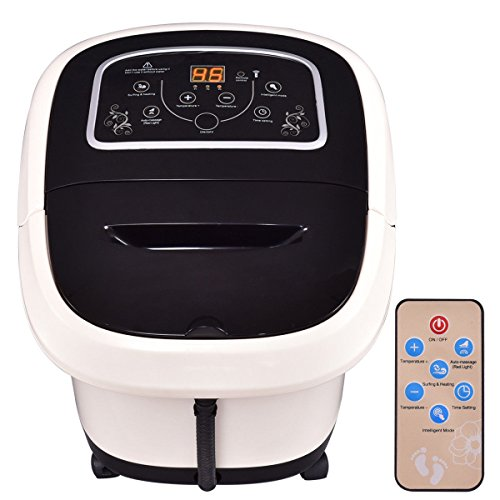 Foot Spa Bath Massager Tem/Time Set Heat Bubble Vibration Water Fall W/4 Roller by Happybeamy