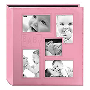 "Pioneer Collage Frame Embossed ""Baby"" Sewn Leatherette Cover Photo Album, Baby Pink"