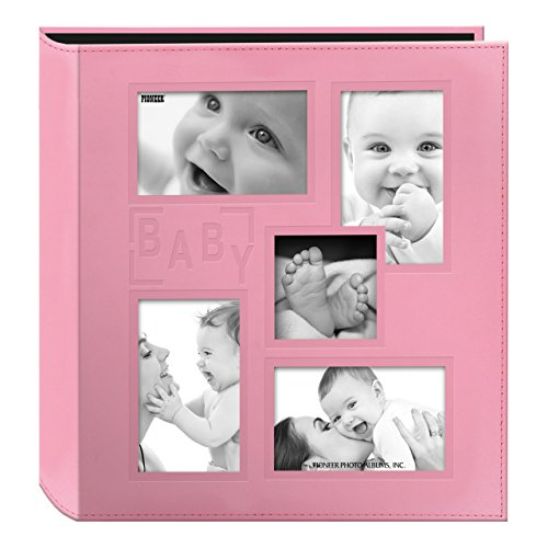 Pioneer Collage Frame Embossed 'Baby' Sewn Leatherette Cover Photo Album, Baby Pink