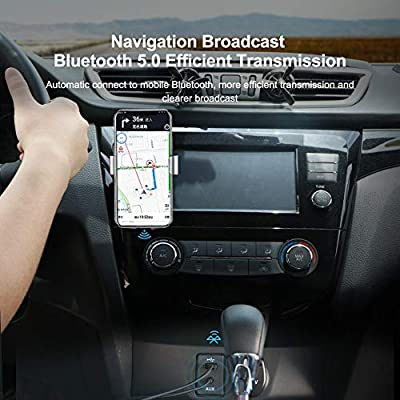 Hagibis Bluetooth Receiver Bluetooth 5.0 Adapter Hands-Free Bluetooth Car Kits AUX Audio 3.5mm Jack Stereo Music Wireless Receiver for Car Speaker Home Built-in Microphone (Grey U3): Car Electronics