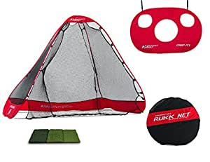Rukket 4pc Golf Bundle   10x7ft Portable Driving Net   Chipping Target   Tri-Turf Hitting Mat   Carry Bag   Practice Outdoor and Indoor