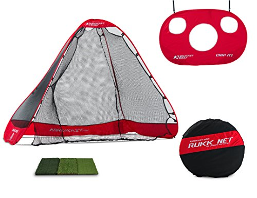 Target Mat - Rukket 4pc Golf Bundle | 10x7ft Portable Driving Net | Chipping Target | Tri-Turf Hitting Mat | Carry Bag | Practice Outdoor and Indoor