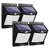 Claoner 【70 LED/3 Modes】 Solar Lights Outdoor, Wireless Solar Motion Sensor Security Light Solar Powered Lights [1800mAh] Solar Wall Light for Front Door, Yard, Garage, Garden (4 Pack)
