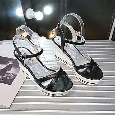 LvYuan Mujer Sandalias PU Verano Paseo Hebilla Tacón Cuña Blanco Negro 5 - 7 cms Black