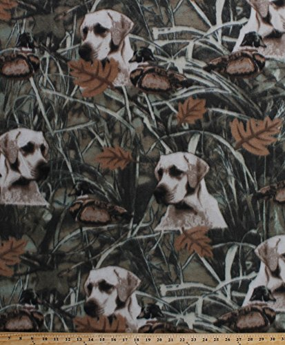 Fleece Duck Hunt Hunting Dogs Dog Hunters Swamp Marsh Ducks Leaves Green Fleece Fabric Print by the Yard (aduckhuntm) (Hunting Fleece Fabric)