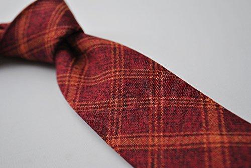 and skinny orange Thomas Frederick check maroon tie linen wgqtC8x