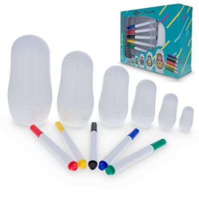 "4.5"" Set of 6 Blank Erasable White DIY Plastic Nesting Dolls + 5 Markers: Toys & Games [5Bkhe1801200]"