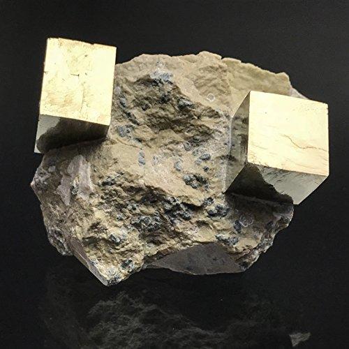 Pyrite Cube on Basalt From Navajun, Spain - PB10 by Astro Gallery Of Gems