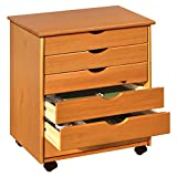 Solid Pine Wood Modern Style 6 Drawer Home Storage Roll Cart
