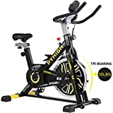 PYHIGH Indoor Cycling Bike Belt Drive Stationary Bicycle Exercise Bikes with LCD Monitor for Home Cardio Workout Bike Training- Black