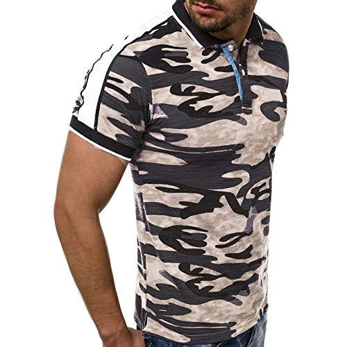NISHISHOUZI Polo Homme,Polo Kaki Été Vêtements Hommes Manches Courtes en Coton Militaire Camouflage,Respirant Et… 2