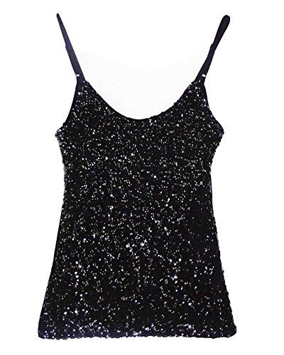 da Penggenga maniche T donna lucidicravatta shirt nero sottilegirocollogilet senza con lustrini qGpUzMSV
