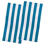 Copa Cabana Stripe Cotton Beach Towel, Over Size Luxury 30 Inch Wide x 60 Inch Long Set of 2 - Soft and Plush Absorbent Terry Cotton Terry Pool and Spa Towel Set, 2 Pack, Turquoise